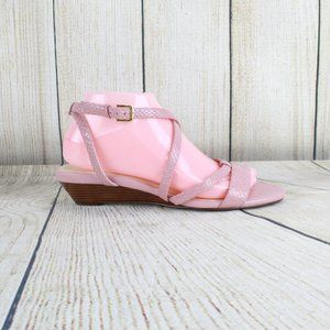 Cole Haan Pink Leather Strappy Wedge Sandals
